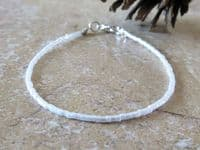 Dainty Pearly White Seed Bead Beach Anklet   Silver Sensations